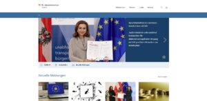 Screenshot der Website des Bundesministerium für Justiz