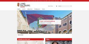 Screenshot der Website vom Land Salzburg