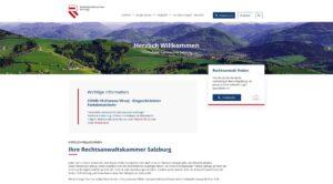 Screenshot der Website der Rechtsanwaltskammer Salzburg